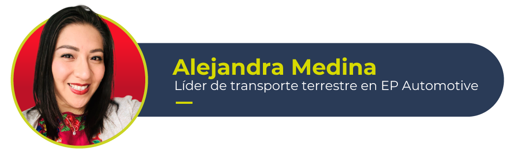 Foto de Alejandra Medina, líder de trabsporte terrestre en nuestra vertical ára a industria automotriz